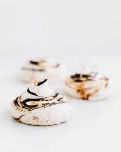 chocolate and caramel swirled meringues