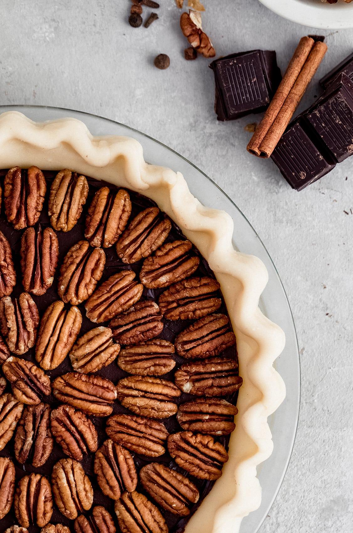 chocolate pecan pie, black bottom pecan pie