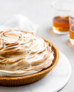 pumpkin cheesecake with maple bourbon meringue