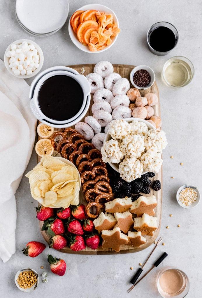 chocolate fondue dessert board