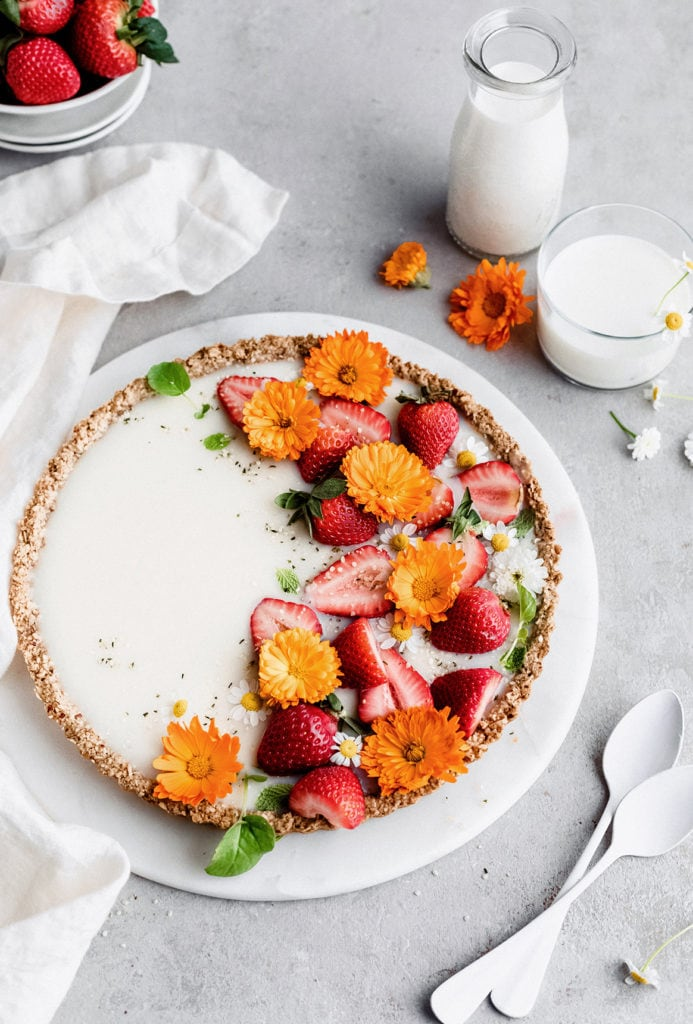 vegan white chocolate tart