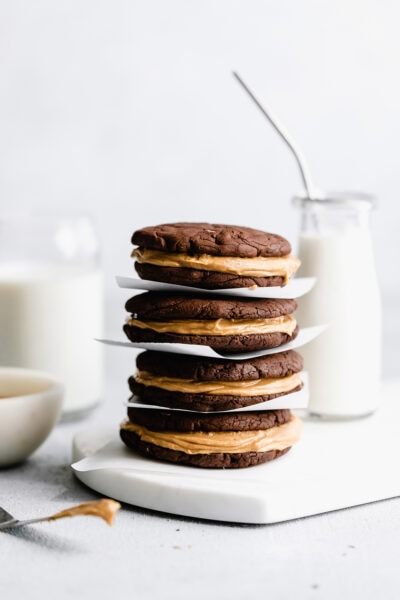 brownie cookie sandwich with peanut butter