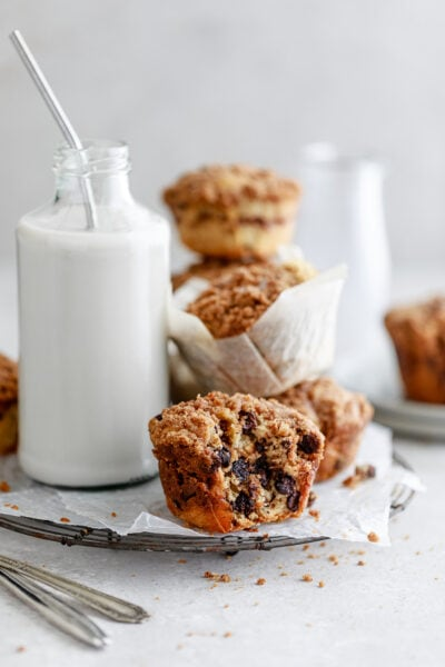 chocolate chip muffins with streusel topping