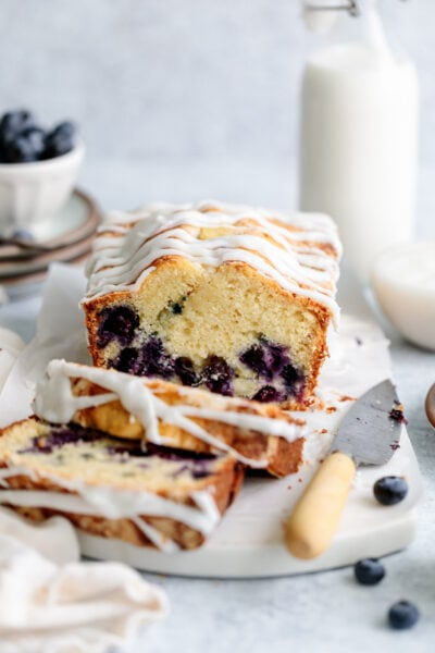 blueberry streusel quick bread slices