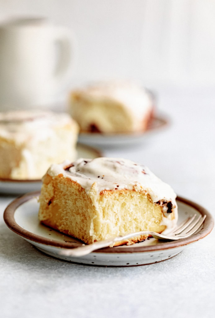 Soft and pillowy chocolate cinnamon rolls topped with a creamy condensed milk glaze.
