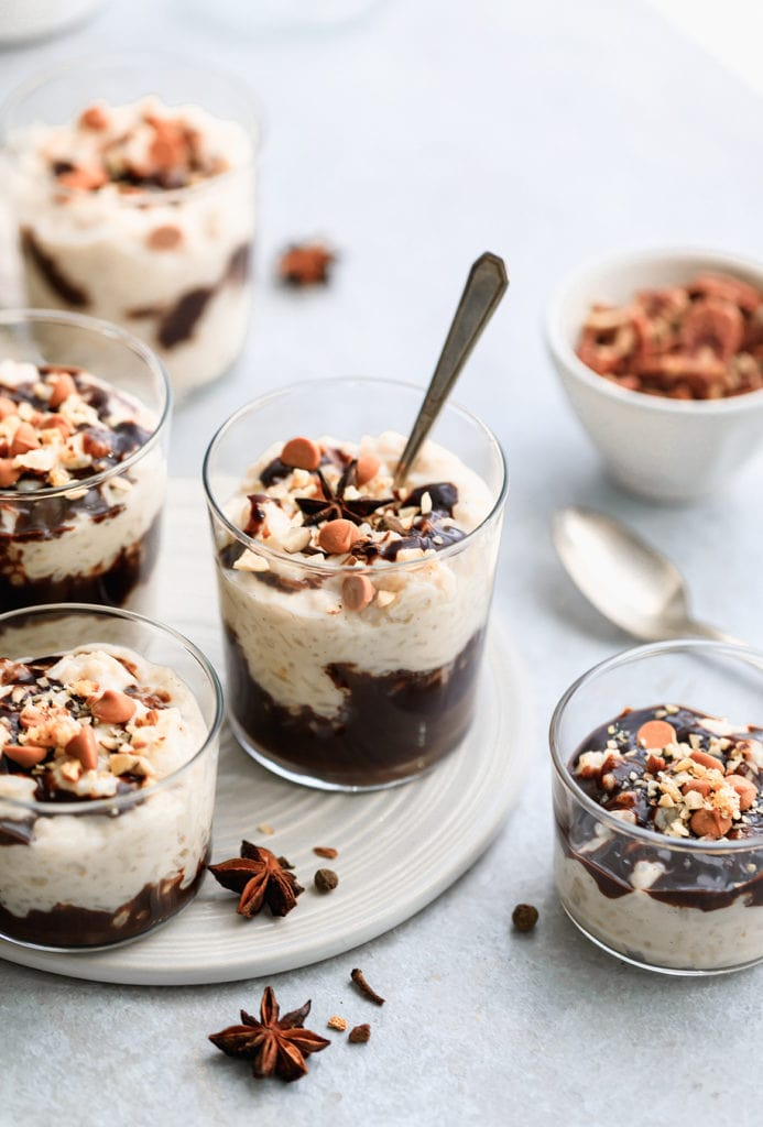 Homemade authentic rice pudding with chocolate swirls has the perfect texture and and sweetness. Easy to make and a favorite recipe of mine. It's also lactose-free!