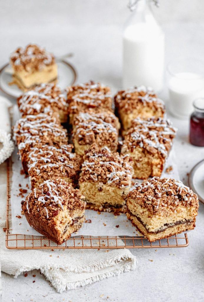 maple pecan coffee cake slices