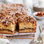closeup maple pecan coffee cake