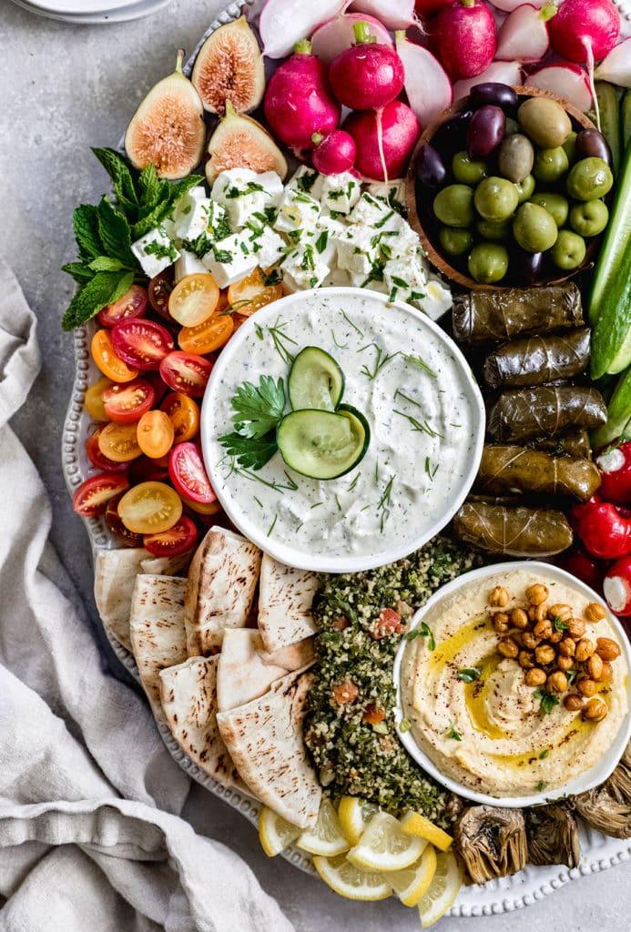 Mezze Platter and tzatziki