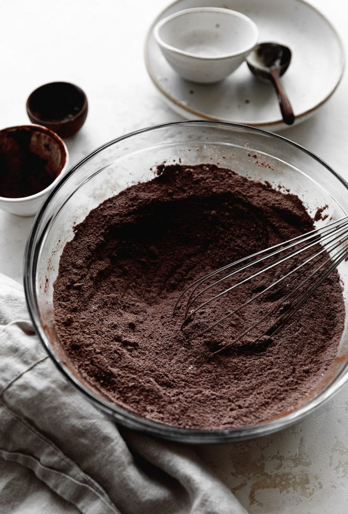 fudgy chocolate loaf cake mixing bowl