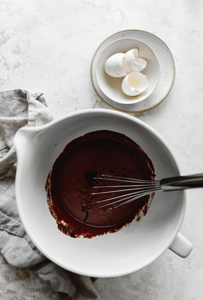 fudgy chocolate loaf cake batter