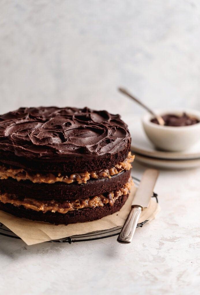 layered german chocolate cake