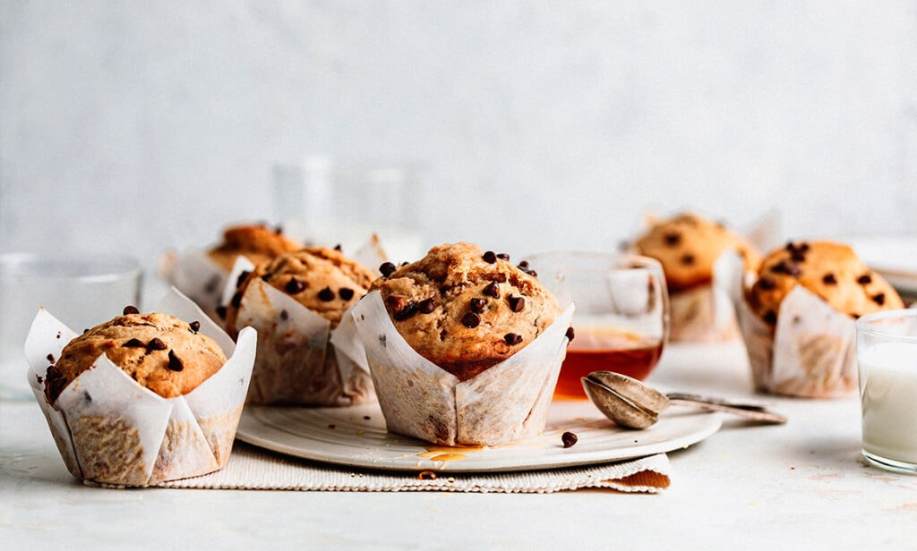 chocolate banana nut muffins
