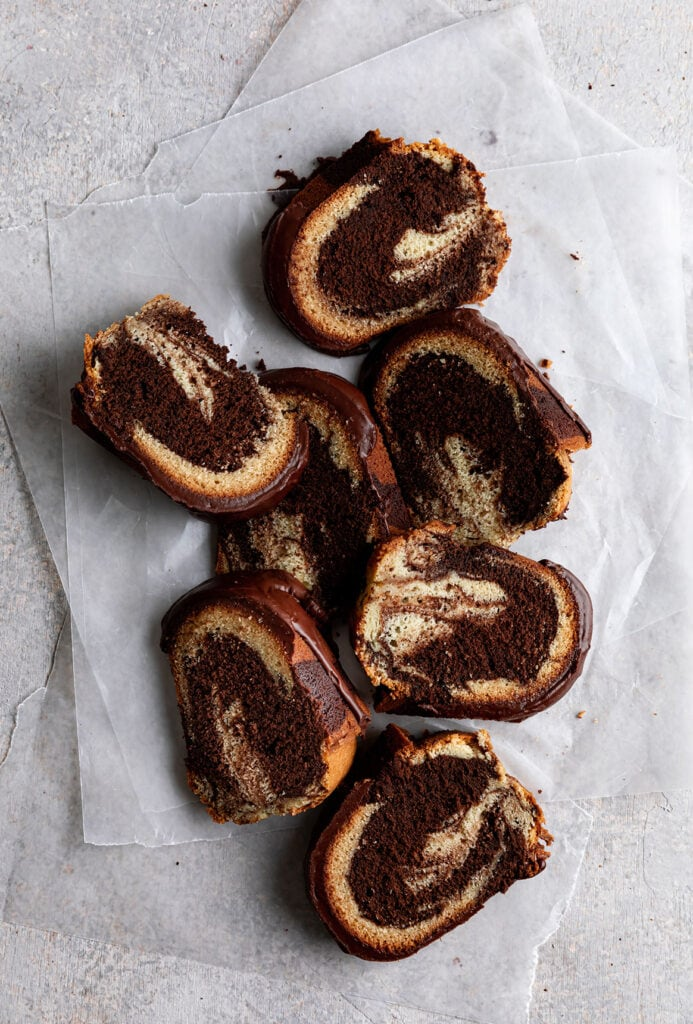 marble bundt cake slices with chocolate icing