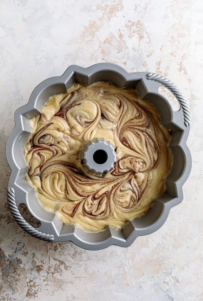marble bundt cake batter