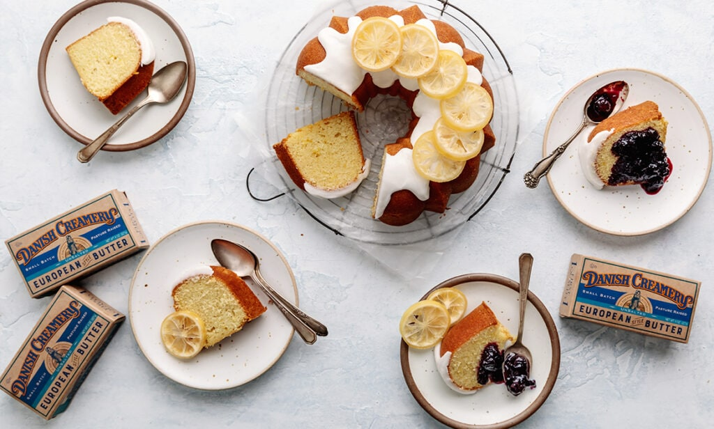 This classic lemon pound cake is perfectly good on its own, but it's extra delicious with a homemade blueberry compote and lemon icing.