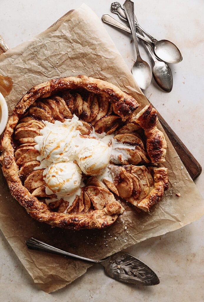 Puff pastry apple galette with ice cream