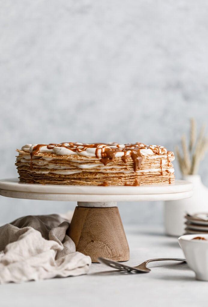 Dulce de Leche Crepe Cake on cake stand