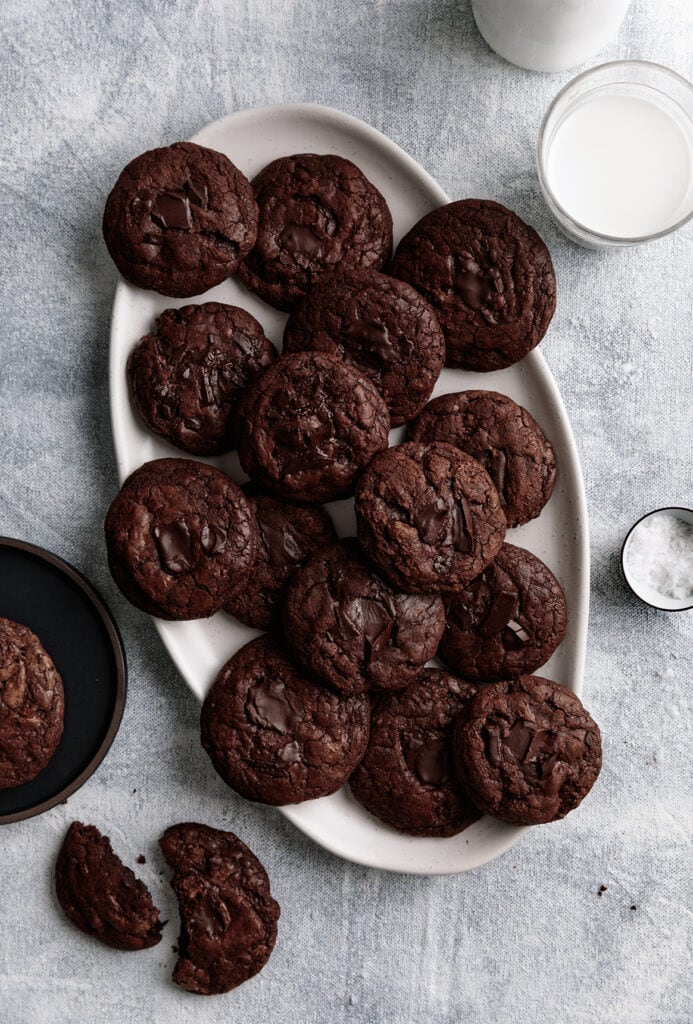 double chocolate brownie cookies on a plate