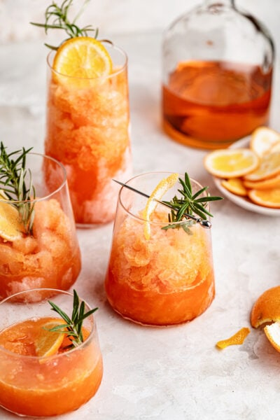 minneola Aperol granita with rosemary
