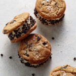 4 vegan chocolate chip ice cream sandwiches