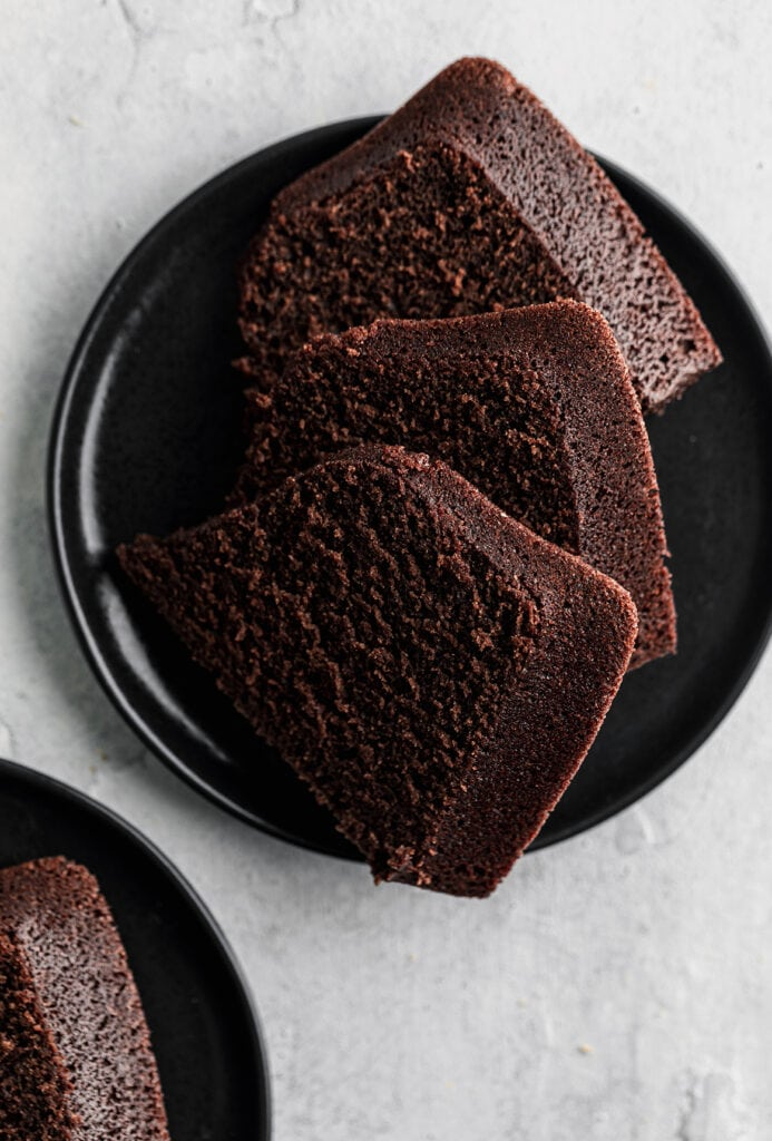 chocolate olive oil cake slices