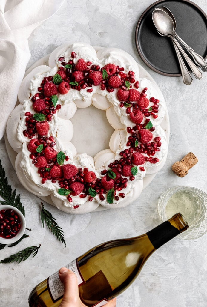holiday pavlova and white wine.