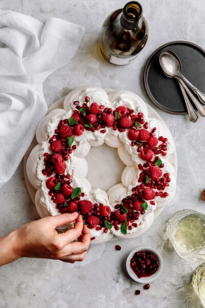 pavlova wreath with raspberries